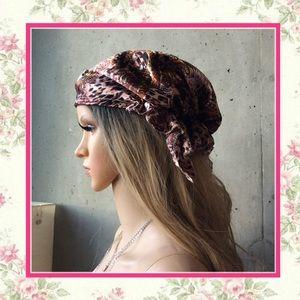 🌺 New animal print leopard satin head wrap turban